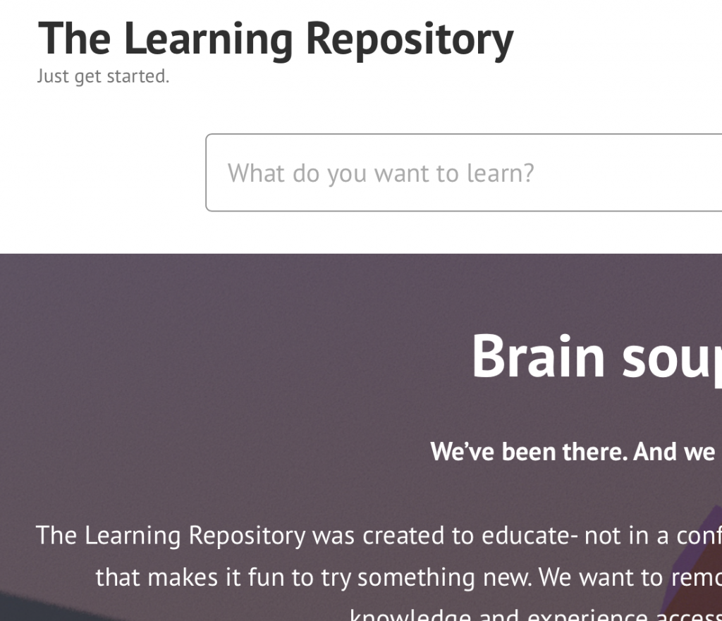 screenshot of the learning repo blog